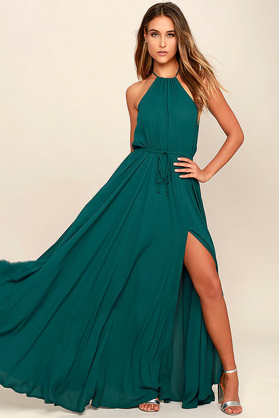 Essence of Style Forest Green Maxi Dress 1