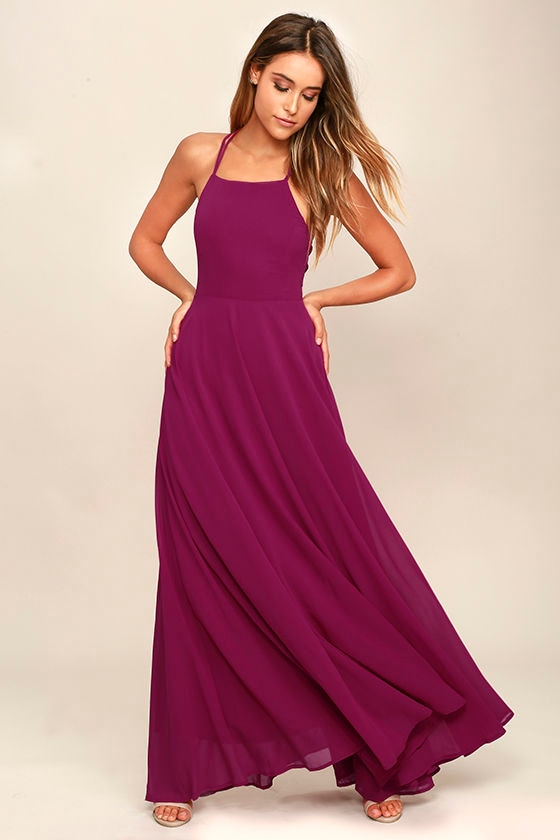 Strappy to be Here Magenta Maxi Dress 2