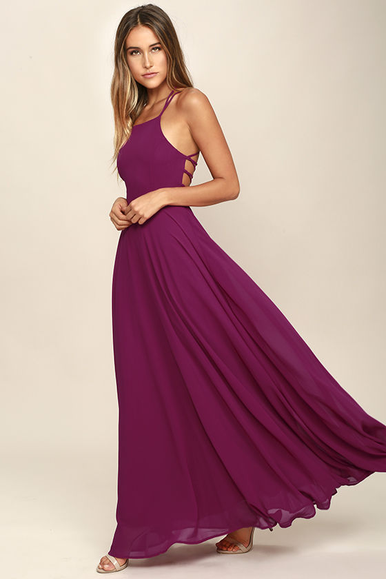 Strappy to be Here Magenta Maxi Dress 3
