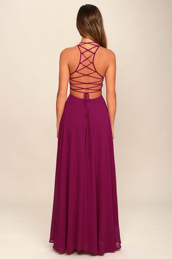 Strappy to be Here Magenta Maxi Dress 4