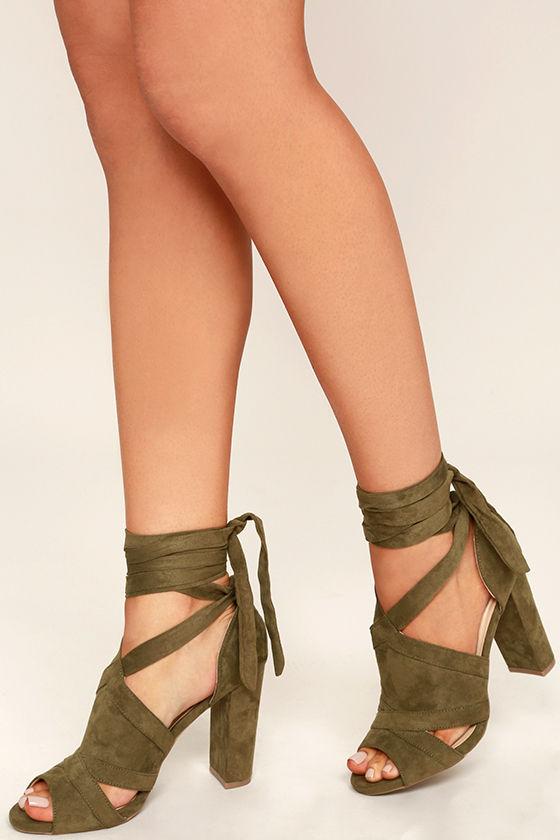 c76e5d21f8d Sexy Olive Green Heels - Peep-Toe Heels - Lace-Up Heels - Vegan Suede Heels  -  33.00