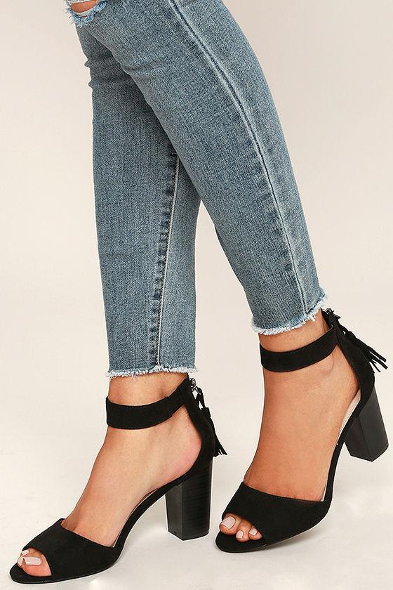f9da25140da Chic Black Heels - Vegan Suede Heels - Ankle Strap Heels -  26.00