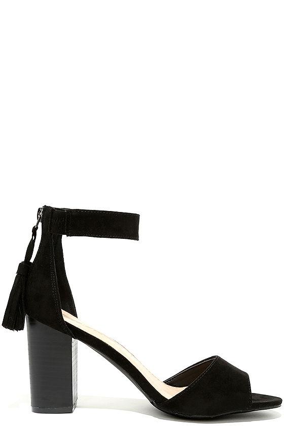 Chic Black Heels - Vegan Suede Heels - Ankle Strap Heels - $26.00