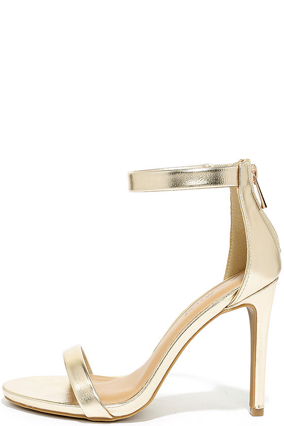 Search the Stars Gold Ankle Strap Heels 2