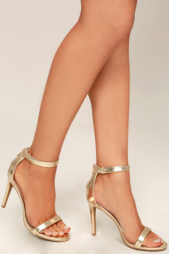 Pretty Gold Heels - Ankle Strap Heels - Metallic Heels - $31.00
