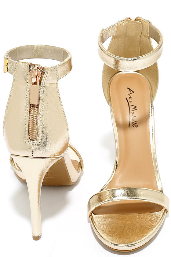 Search the Stars Gold Ankle Strap Heels 3