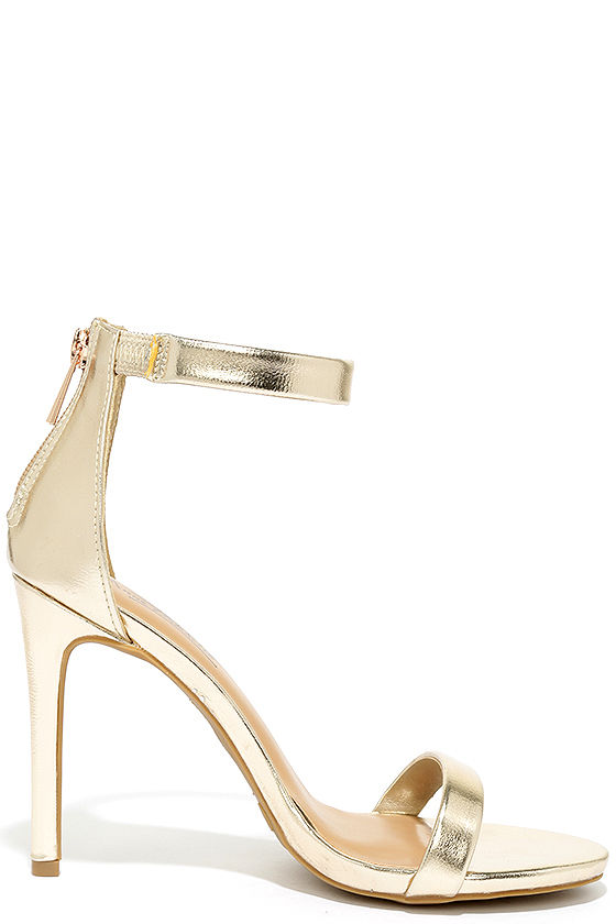 Search the Stars Gold Ankle Strap Heels 4