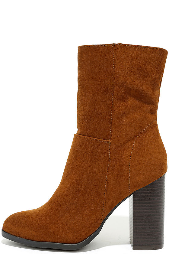 Welcomed Addition Chestnut Suede High Heel Mid-Calf Boots 2