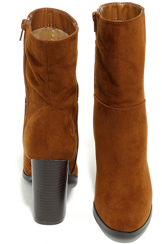 Welcomed Addition Chestnut Suede High Heel Mid-Calf Boots 3