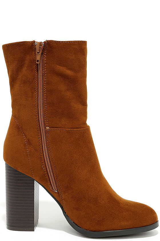 Welcomed Addition Chestnut Suede High Heel Mid-Calf Boots 4