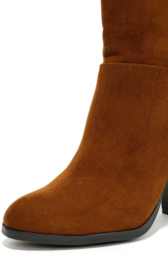 Welcomed Addition Chestnut Suede High Heel Mid-Calf Boots 6