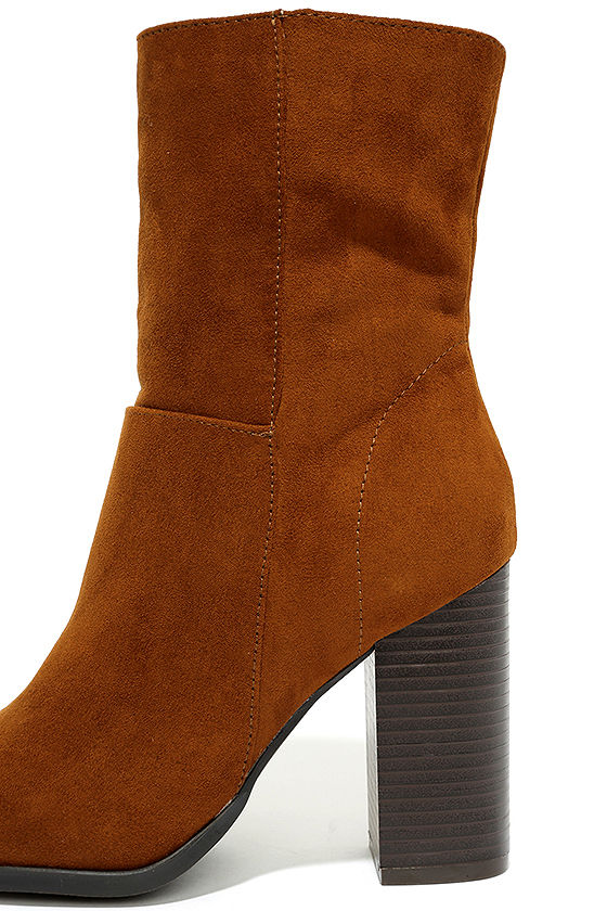 Welcomed Addition Chestnut Suede High Heel Mid-Calf Boots 7