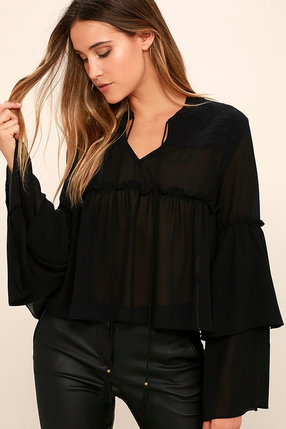 86e58cb7872 Lovely Black Top - Long Sleeve Top - Bell Sleeve Top - Babydoll Top - $39.00