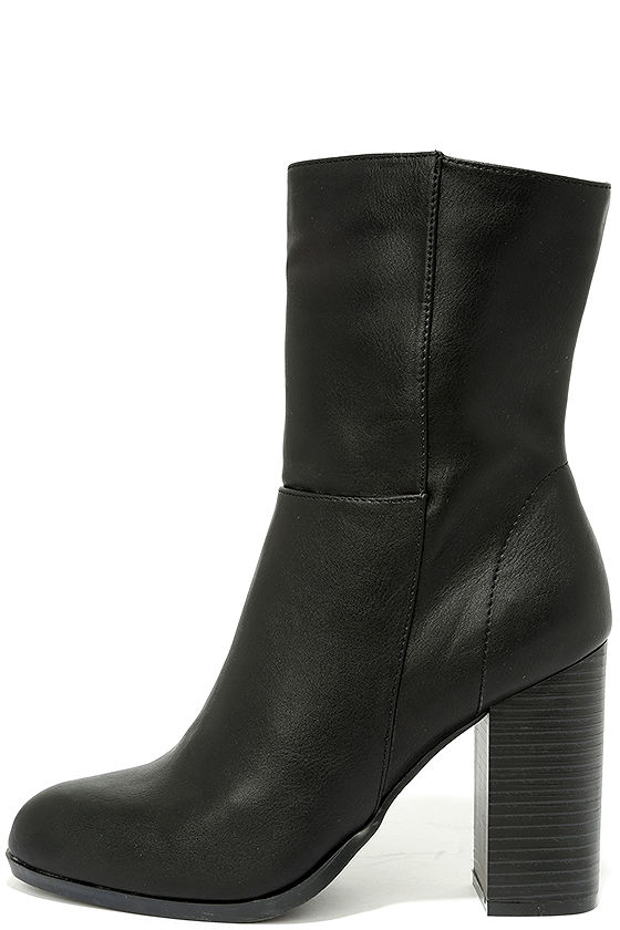 Welcomed Addition Black High Heel Mid-Calf Boots 1