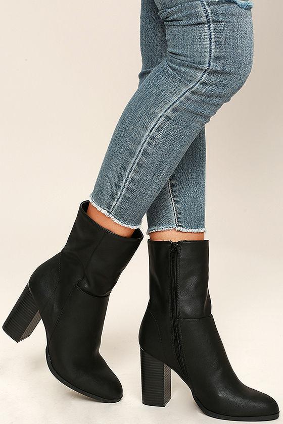 04b73c1c5f32 Stylish Black Booties - Vegan Leather Mid-Calf Boots - Mid-Calf ...