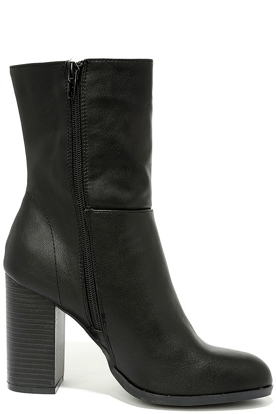 Welcomed Addition Black High Heel Mid-Calf Boots 4