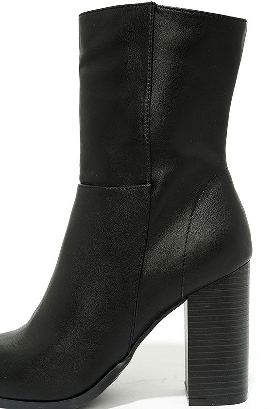 Welcomed Addition Black High Heel Mid-Calf Boots 6