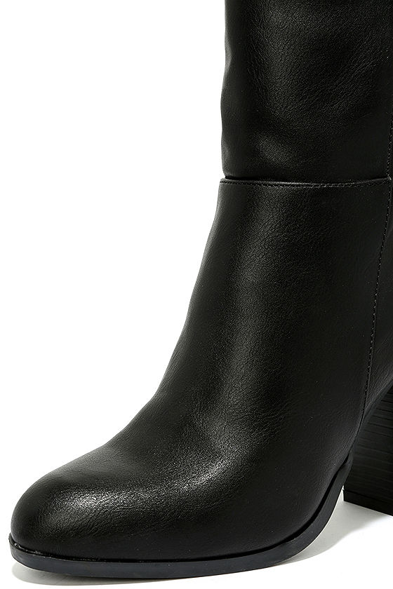 Welcomed Addition Black High Heel Mid-Calf Boots 7