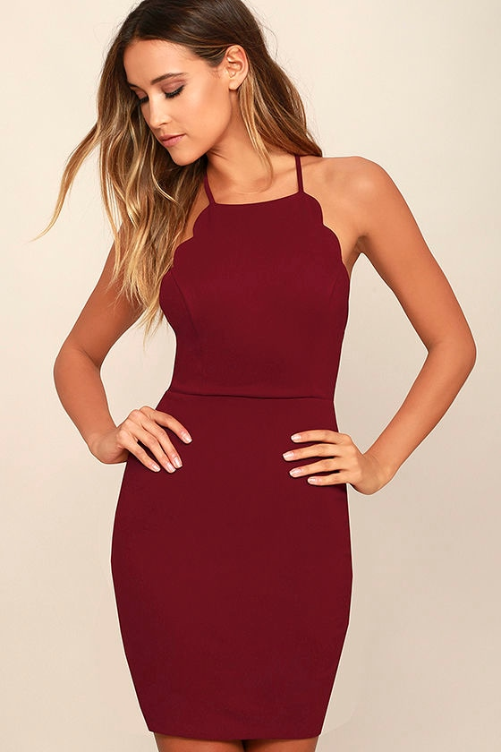Heart's Content Wine Red Bodycon Dress 1