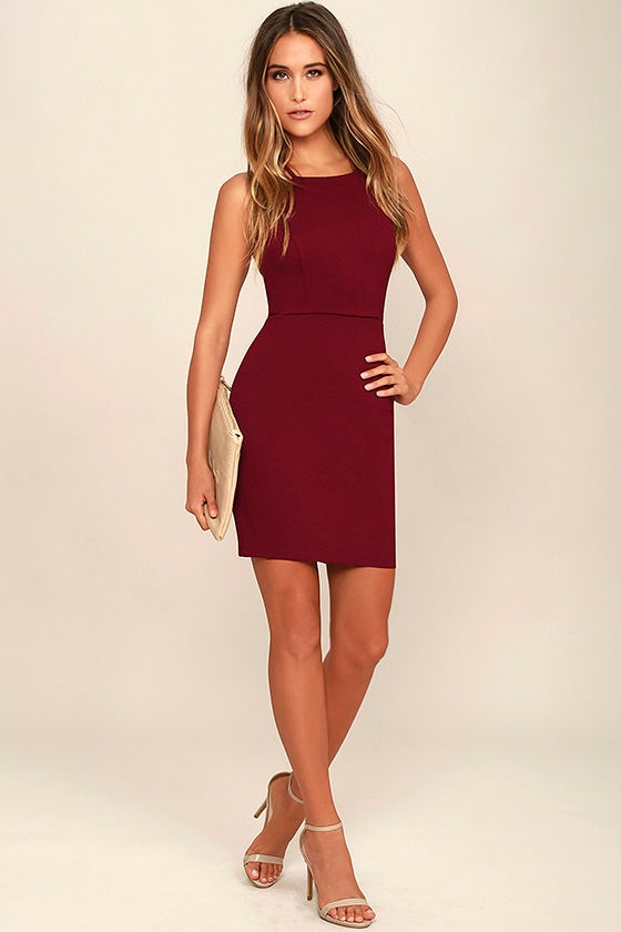 Heart's Content Wine Red Bodycon Dress 2