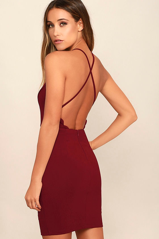 Heart's Content Wine Red Bodycon Dress 3