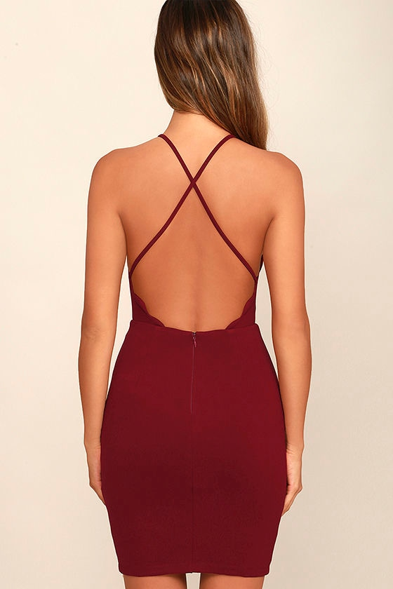 Heart's Content Wine Red Bodycon Dress 4