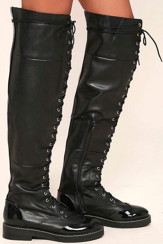 LFL Craft Boots - Black Over the Knee Boots - Lace-Up Boots - $117.00