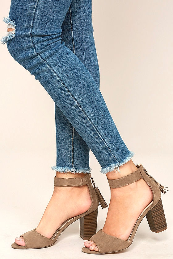 Zoey Taupe Suede Ankle Strap Heels 1