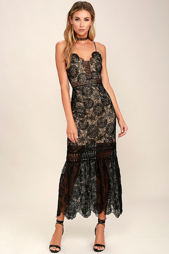 86511c92e636 Stunning Black Dress - Embroidered Dress - Midi Dress - Lace Dress -  78.00