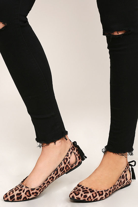 Just Like That Camel Leopard Suede Cutout Flats 2