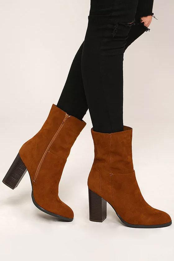 f27138d981b5 Stylish Chestnut Booties - Vegan Suede Mid-Calf Boots - Mid-Calf Booties -   39.00