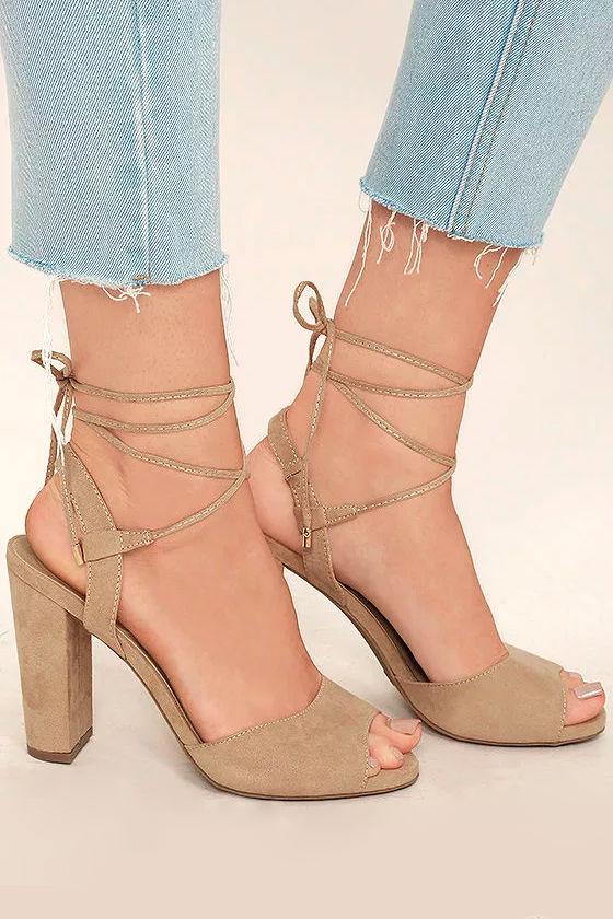 Elle Natural Suede Lace-Up Heels 3