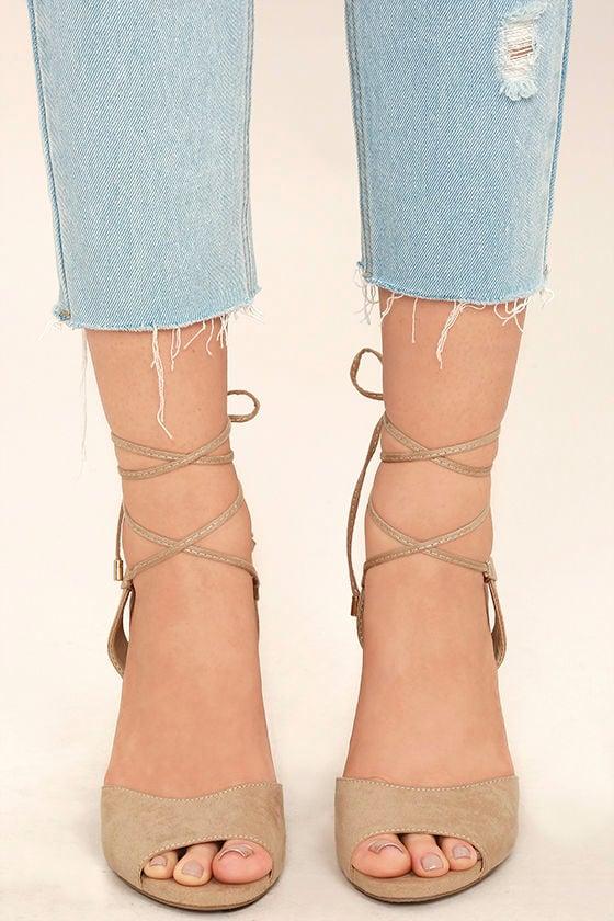 Elle Natural Suede Lace-Up Heels 2