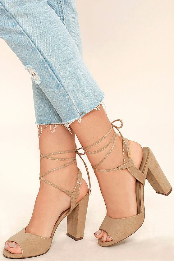 Elle Natural Suede Lace-Up Heels 1