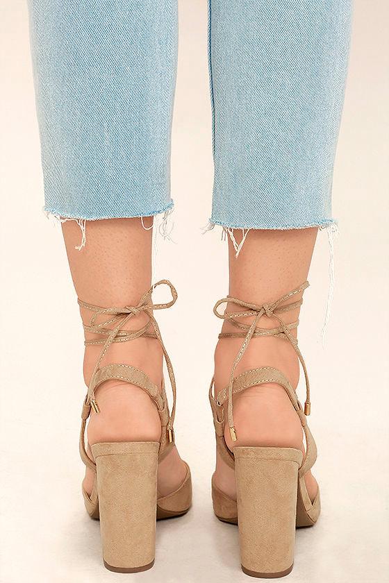Elle Natural Suede Lace-Up Heels 4