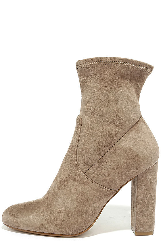 ebf98bf9ce2 Steve Madden Edit Taupe Suede High Heel Mid-Calf Boots