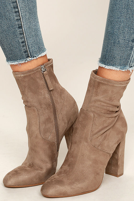 05966284005 Steve Madden Edit - Taupe Vegan Suede Booties