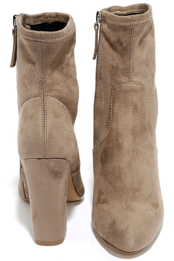 Steve Madden Edit Taupe Suede High Heel Mid-Calf Boots 3