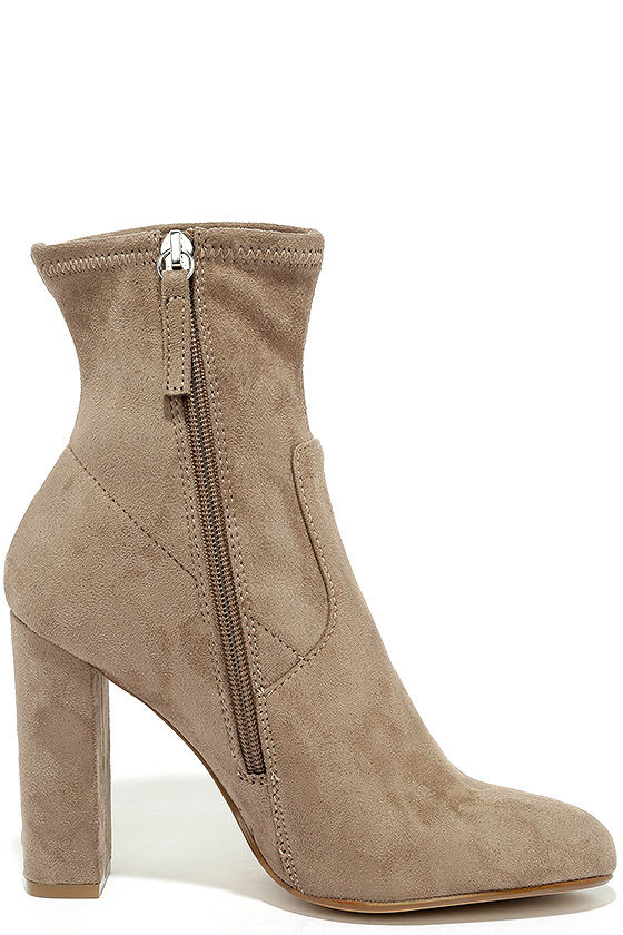 Steve Madden Edit Taupe Suede High Heel Mid-Calf Boots 4