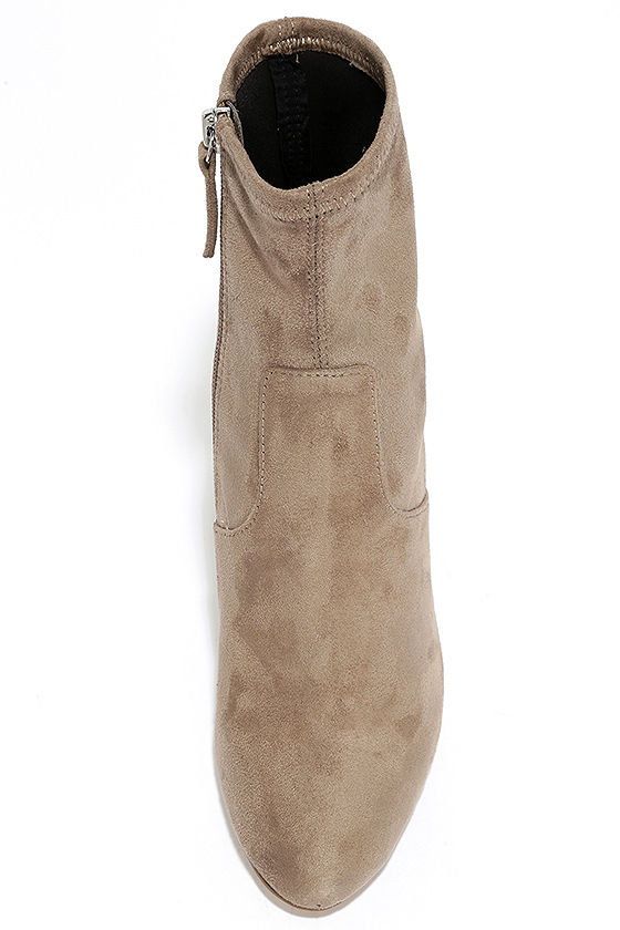 Steve Madden Edit Taupe Suede High Heel Mid-Calf Boots 5