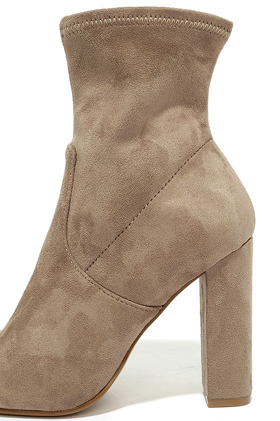 Steve Madden Edit Taupe Suede High Heel Mid-Calf Boots 6