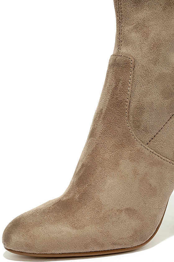 Steve Madden Edit Taupe Suede High Heel Mid-Calf Boots 7