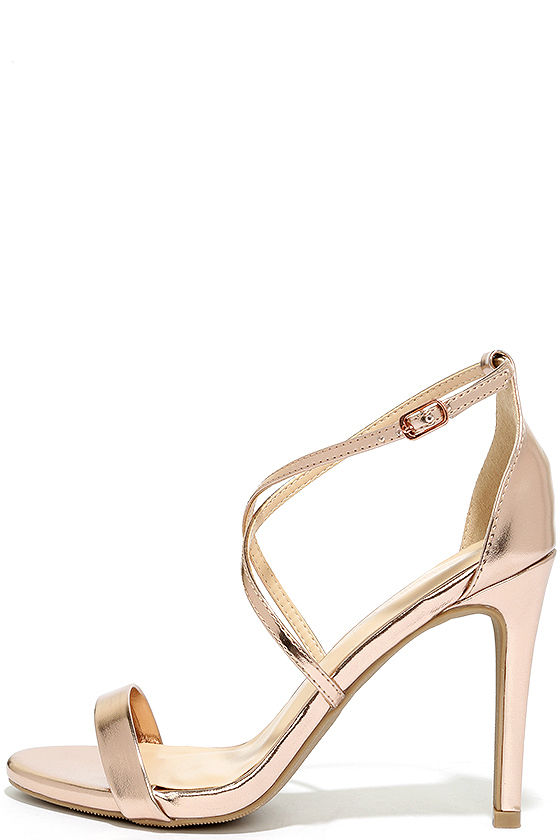 34fbeb246c0c Chic Rose Gold Heels - Metallic Heels - Strappy Heels -  23.00