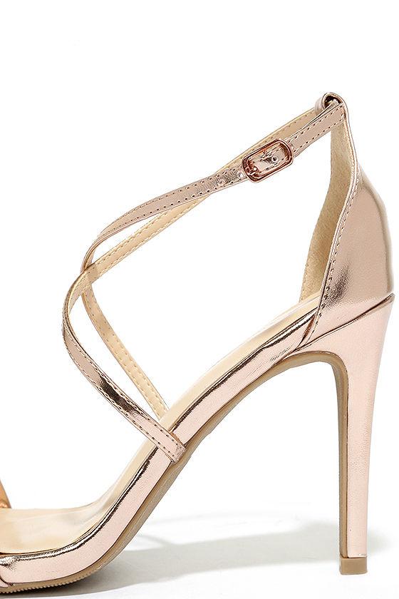 Chic Rose Gold Heels - Metallic Heels - Strappy Heels - $23.00