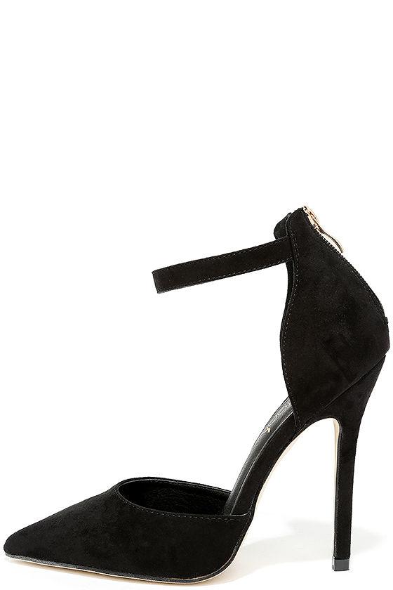 c202b56596d Black Suede Heels - Ankle Strap Heels -  34.00