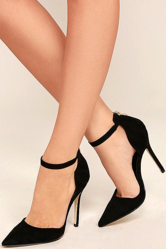 Black Suede Heels - Ankle Strap Heels - $34.00