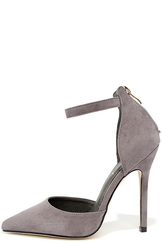 Grey Suede Heels - Ankle Strap Heels - $34.00