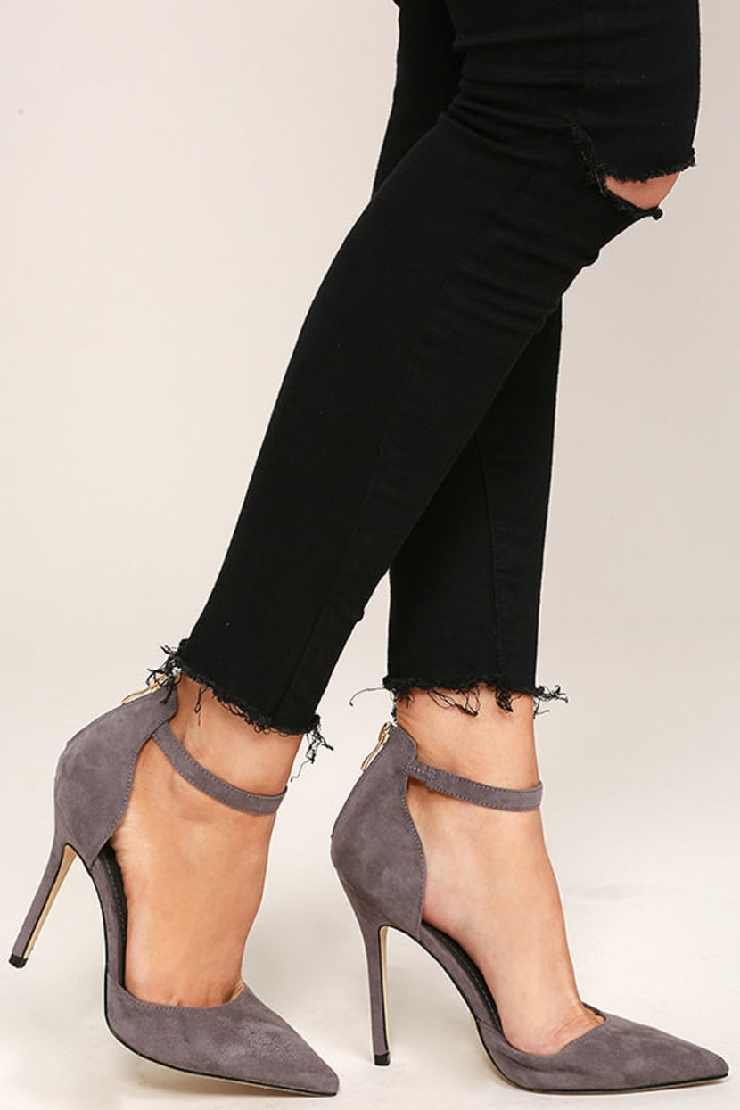 Gray Ankle Strap Heels
