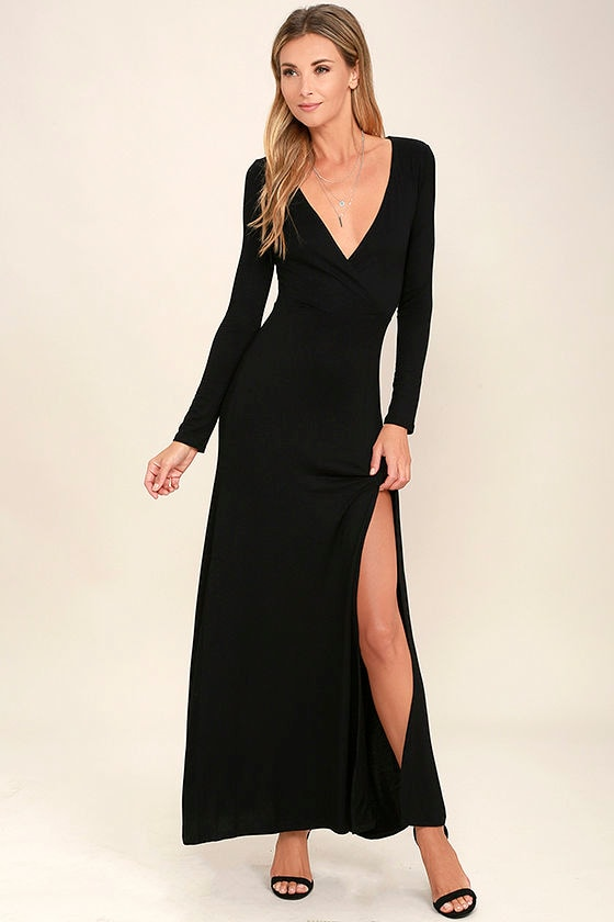 Lovely Black Maxi Dress Long Sleeve Dress Surplice Maxi 4800