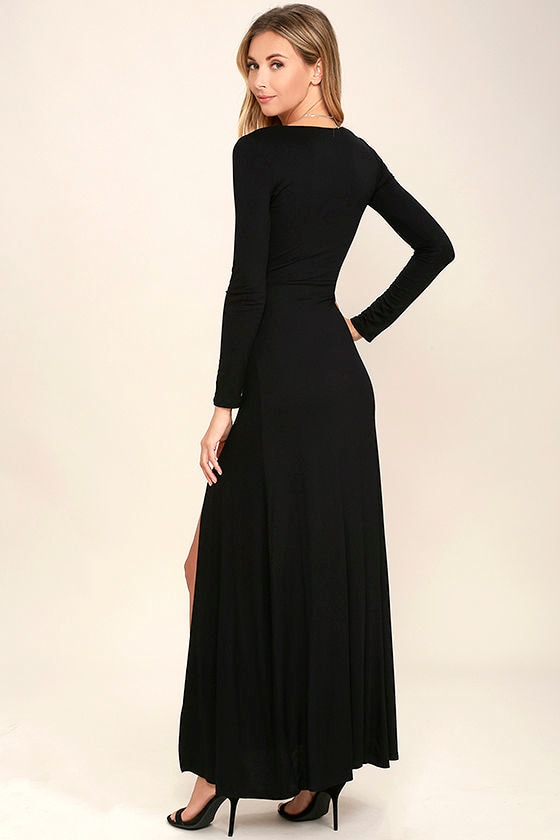 Lovely Black Maxi Dress - Long Sleeve Dress - Surplice Maxi - $48.00